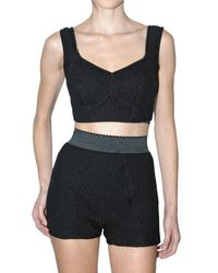 Dolce & Gabbana | Black Ribbed Knit and Satin Bra Top | Lyst