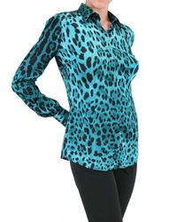 Dolce & Gabbana - Multicolor Leopard Print Stretch Satin Shirt - Lyst