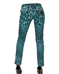 Dolce & Gabbana - Blue Leo Printed Stretch Denim Gisel Jeans - Lyst