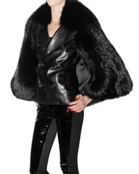 DSquared² - Black Leather and Racoon Cape Fur Coat - Lyst