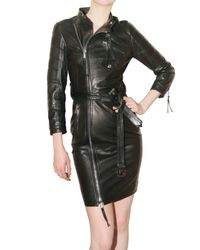 DSquared² | Black Leather Biker Dress | Lyst