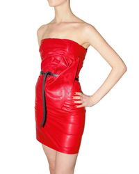 DSquared² | Gathered Leather Tube Dress | Lyst