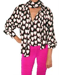 Emanuel Ungaro | Black Heart Print Envers Satin Shirt | Lyst