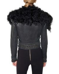 Emilio Pucci | Blue Kalgan Fur Collar Leather Jacket | Lyst