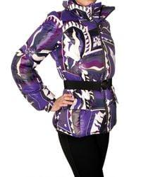 Emilio Pucci - Purple Printed Nylon Down Jacket - Lyst