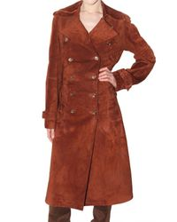 Ferragamo | Brown Long Suede Trench Coat | Lyst