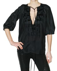 Givenchy | Black Cotton Voile Shirt | Lyst