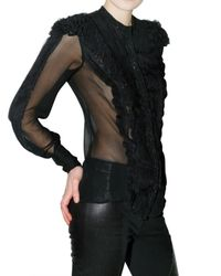 Givenchy - Black Embroidered Silk Georgette Shirt - Lyst