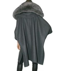 Givenchy   Gray Flannel and Fox Parka Coat   Lyst