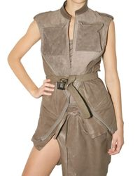 Haider Ackermann | Brown Zip Vest Suede and Leather Jacket | Lyst