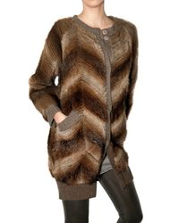 Hotel Particulier - Brown Knit Muskrat Fur Sweater - Lyst