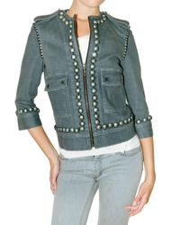 Lanvin | Blue Studded Stretch Denim Jacket | Lyst