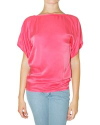 Lanvin | Pink Washed Silk Satin T-shirt | Lyst