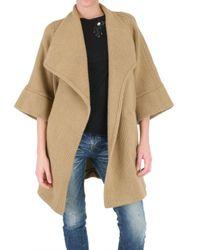 Les Copains | Natural Double Wool Cashmere Coat | Lyst