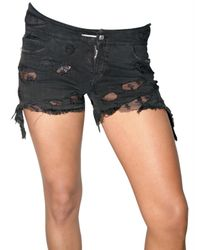 Loha Vete | Black Lace Stretch Denim Shorts | Lyst