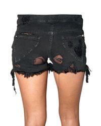 Loha Vete - Black Lace Stretch Denim Shorts - Lyst