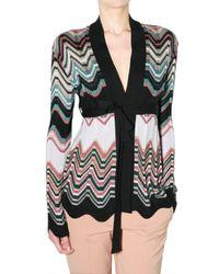 M Missoni - Multicolor Zig Zag Knit Belted Cardigan Sweater - Lyst