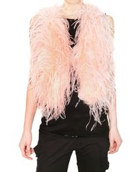 Manoush - Pink Ostrich Feather Vest - Lyst