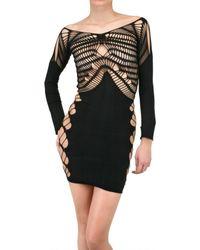 Mark Fast - Black Elastomeric Three Quarter Sleeve Dress - Lyst