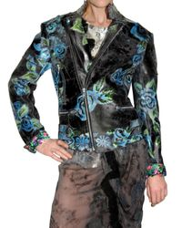 Meadham Kirchhoff | Black Hand Painted Rose Leather Jacket | Lyst