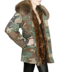 Mr & Mrs Italy | Green Camouflage Canvas Fur Coat | Lyst
