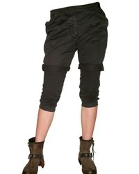 Novemb3r | Black Gabardine and Jersey Shorts On Trousers | Lyst
