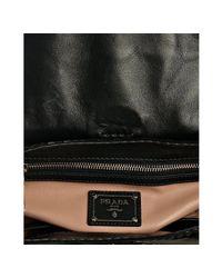 Prada   Black and Ivory Patent Leather Turnlock Shoulder Bag   Lyst
