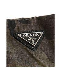 Prada - Green Camouflage Canvas Pleated Zip Wristlet - Lyst
