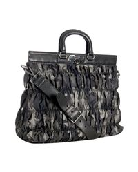 Prada | Gray Smoke Camouflage Print Nylon Ruched Top Handle Bag | Lyst