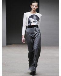 Richard Nicoll - Gray Long Wool Flannel Skirt - Lyst