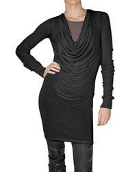 Rick Owens | Black Fine Merino Mini Dress | Lyst