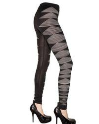Rick Owens - Black Merino Wool Zig Zag Opaque Leggings - Lyst