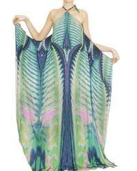 Roberto Cavalli - Blue Acquarius Print Long Silk Chiffon Dress - Lyst
