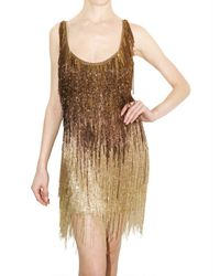 Roberto Cavalli | Metallic Embellished Fringed Dress | Lyst