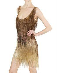 Roberto Cavalli - Metallic Embellished Fringed Dress - Lyst