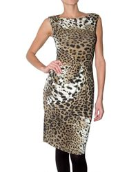 Roberto Cavalli - Multicolor Stretch Lycra Leopard Print Dress - Lyst