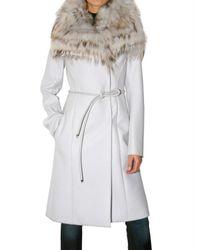 Roberto Cavalli | White Wool Fox Collar Coat | Lyst