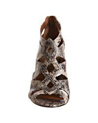 BCBGMAXAZRIA | Gray Wild Roccia Snake Printed Ivory Peep Toe Sandals | Lyst