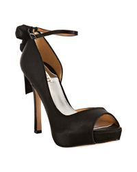Badgley Mischka | Black Satin Fuller Bow Back Dorsay Platform Pumps | Lyst