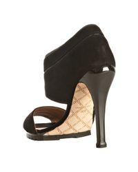 L.A.M.B. | Black Suede Palma Lug Sole Sandals | Lyst