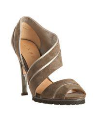 L.A.M.B. | Brown Grey Suede Palma Lug Sole Sandals | Lyst