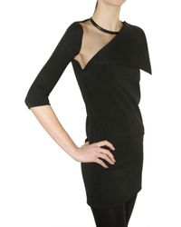 Givenchy - Black Milano Stitch and Tulle Dress - Lyst