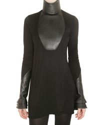 Givenchy - Black Faux Leather and Jersey Dress - Lyst
