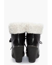 Marc By Marc Jacobs | Black Shearling Wedge Boot | Lyst