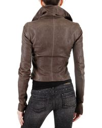 Rick Owens - Brown Funnel Neck Leather Jacket - Lyst