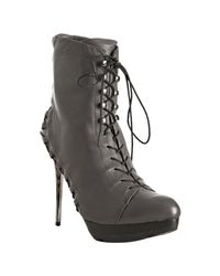 Mea Shadow | Gray Grey Leather Femina Lace Up Platform Boots | Lyst