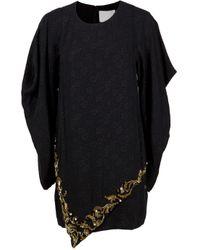 3.1 Phillip Lim | Black Barogue Beaded Drape Long Sleeve Dress | Lyst
