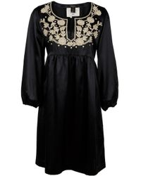 Collette Dinnigan | Black Embroidered Tunic Dress | Lyst