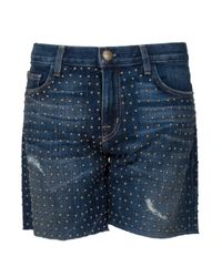 Current/Elliott | Blue Studded Shorts | Lyst