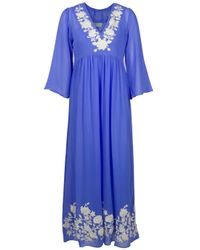 Leaves Of Grass | Blue Arabella Full Length Embroidery Kaftan | Lyst